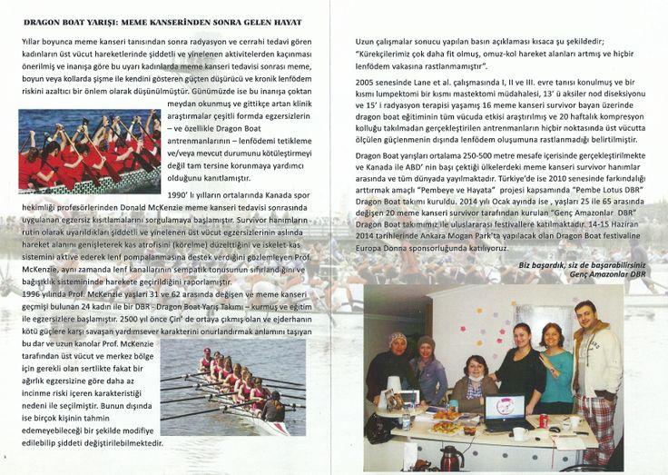 """Ankara """"Genç Amazonlar"""" dragon Boat Takımı Broşürü - İç Bölüm - Europa Donna Türkiye ve Sn. Canan Perdahlı'ya Teşekkürlerle..."""