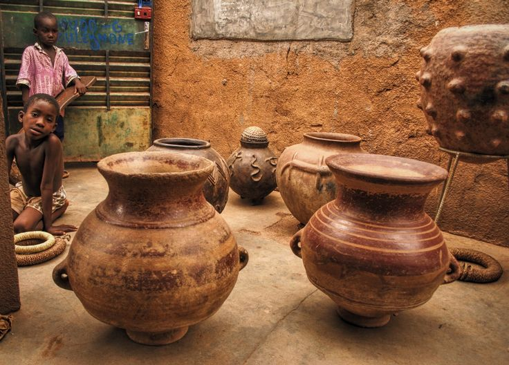 A selection of vintage pottery from a variety of tribes in Burkina Faso, in Ouagadougou