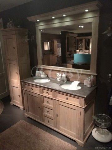 ll-bath-364w-cottage stijl retro badkamermeubel in massief eiken massieve eik