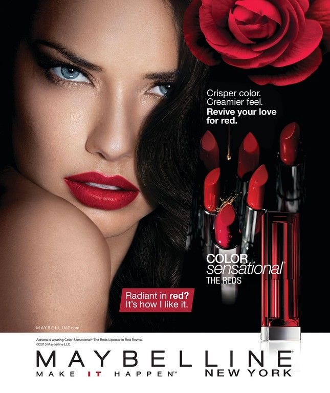 ADRIANA LIMA |  MAYBELLINE NEW YORK  COSMETICS ADVERTISEMENT  PHOTOGRAPHED BY KENNETH WILLARDT