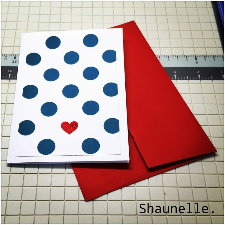 Handmade Valentine's Day card with a single heart and preciosa crystal rhinestone accent. #minimaldesign #polkadots #redheart #love #handmadecard #valentinescard #Shaunelle #happyvalentines