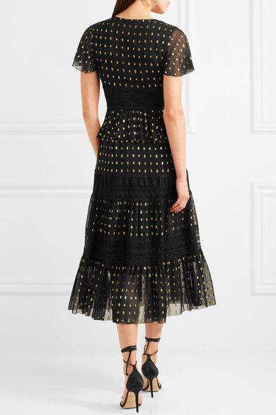 Temperley London - Wondering Lace-paneled Fil Coupé Georgette Midi Dress - Black