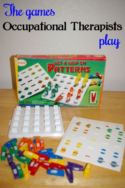 A game to teach fine motor skills, visual perceptual skills and more!  Click on the link to see a list of store bought games to make therapy fun.