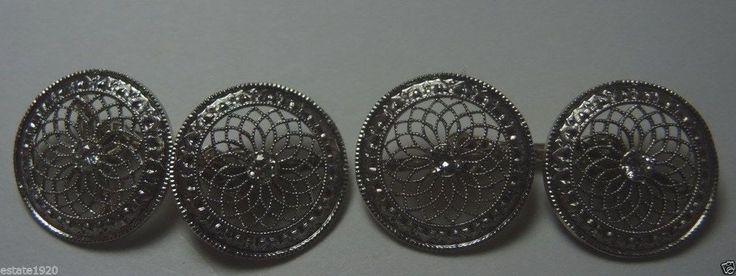Antique Diamond CuffLinks Platinum 14K Yellow Gold Fine Jewelry EGL USA Vintage #Handmade
