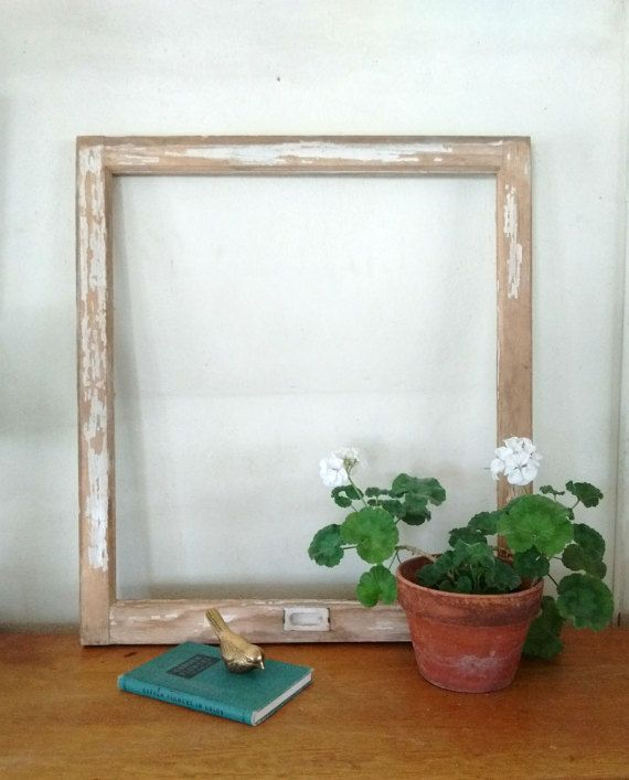 Architectural salvaged window frame, large antique window frame, chippy paint by Honey Crow etsy.com/shop/honeycrow