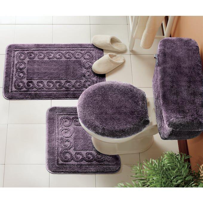 5 Piece Scroll Bath Rug Set Rugs, 5 Piece Bathroom Rug Set