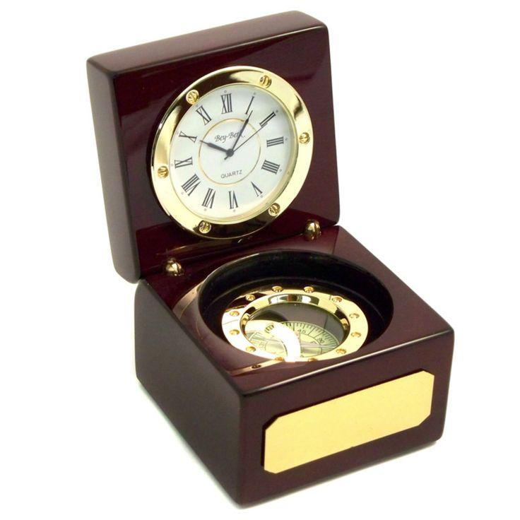 Bey-Berk International Compass Rosewood Desktop Clock - SQ567T