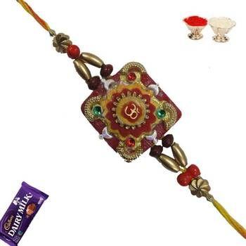 Auspicious Om Rakhi with Mauli Thread, Buy rakhi online