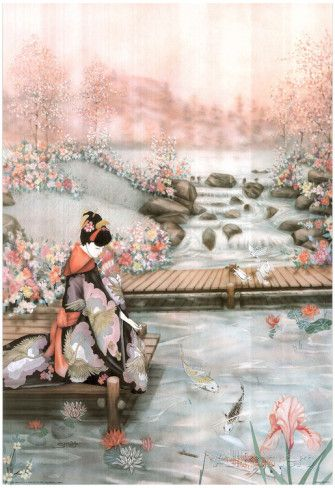 Asian Lady The Fish Pond 1 Art Print POSTER quality Poster at AllPosters.com