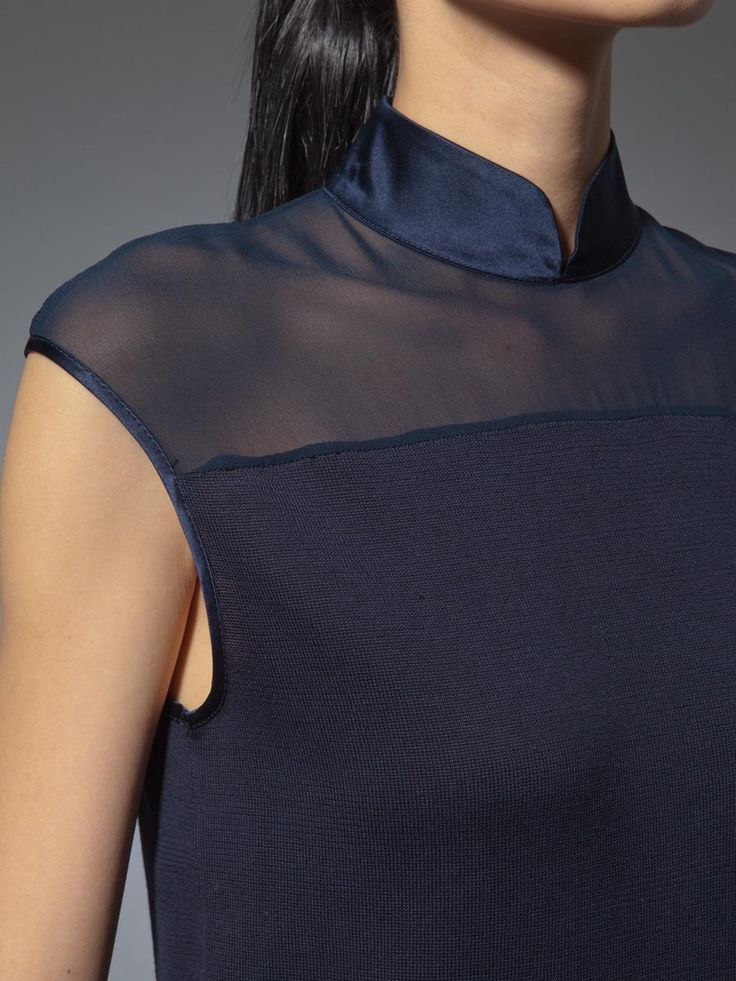 Silk cotton chiffon trim stand collar top    Shanghai Tang  Spring/Summer 2014