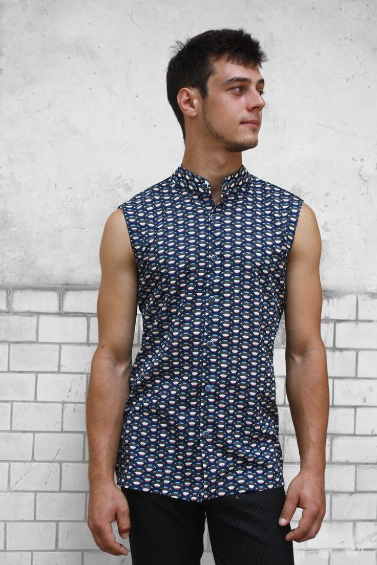 Baïsap - Chemise sans manche homme - Écailles - Chemise col mao - motif bleu marine