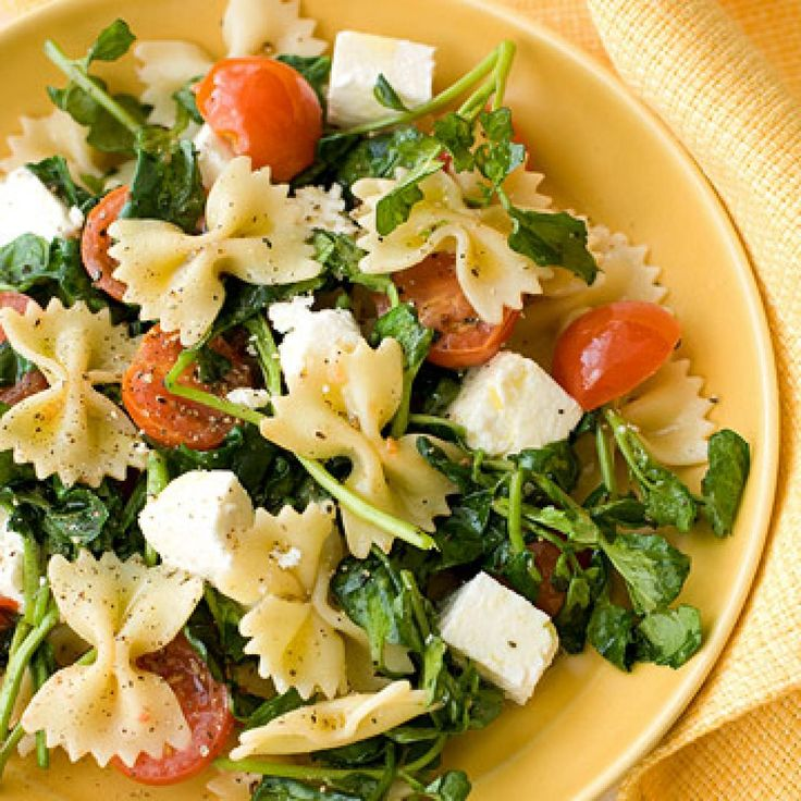 Farfalle with Watercress, Cherry Tomatoes, and Feta - Fitnessmagazine.com