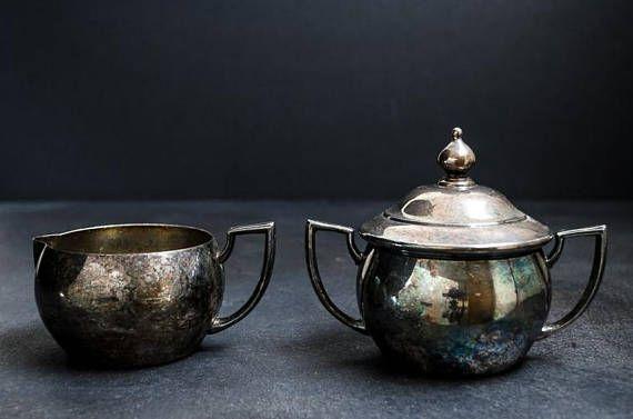 Vintage Silver Plate Tea Set  Creamer & Sugar Bowl  Shabby