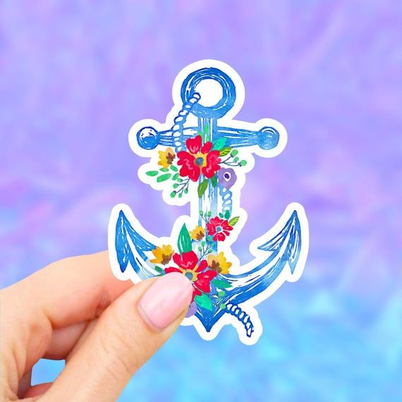 Floral Anchor Sticker Tumbler Stickers Flower Aesthetic Sticker Laptop Stickers Vinyl Decal Wat Vinyl Sticker Paper Aesthetic Stickers Tumbler Stickers