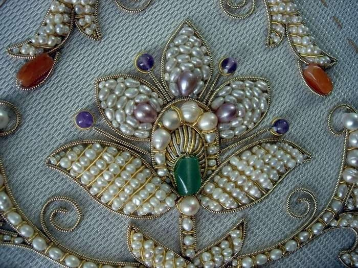 Russian golden knitting, the replica of the original blanket of the 15th century. Golden knitting is a traditional art in the medieval Russia that asked many years of studying and experience to work with jewels and fine pearls (river pearls).
