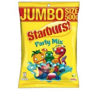 A bulk box of 10 packs of Starburst Party Mix 500g.