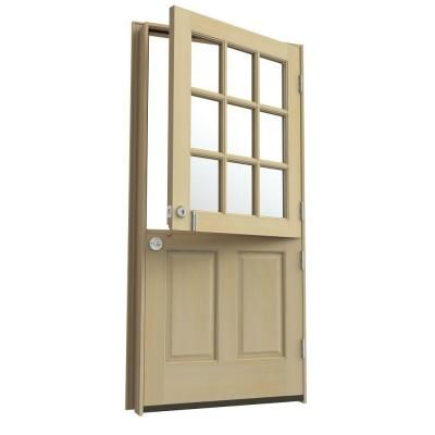 36 in x 80 in 9 lite unfinished dutch hemlock wood for Home depot front doors wood