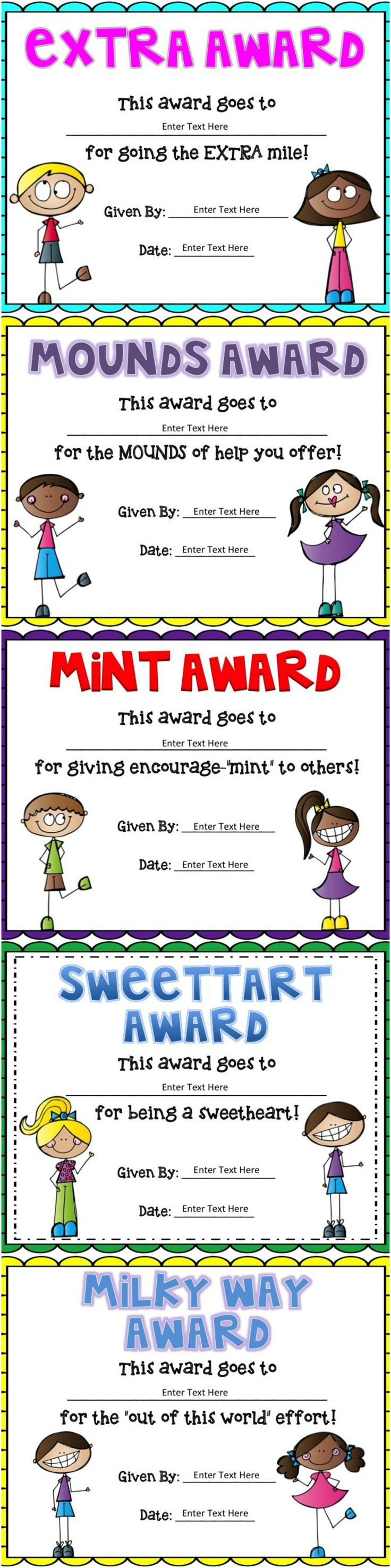 Editable candy awards! Cute way to end the year!