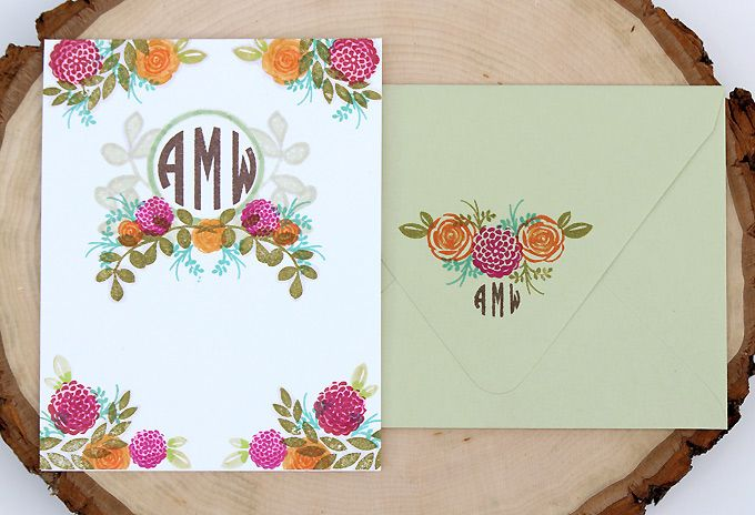 Monogram Floral Stationery | Clear & Simple Stamps Alpha Monogram and Alpha Monogram Mini - full supply list on blog