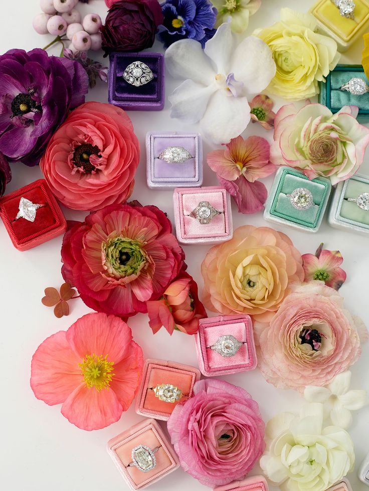 The Mrs Box colorful engagement + wedding ring boxes