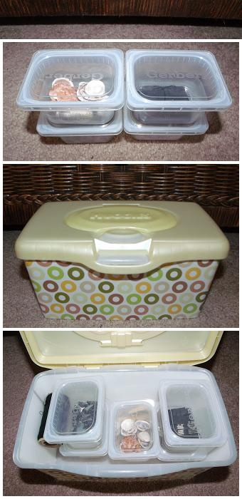 I use Gerber 2nd Foods containers as little storage boxes for buttons, sea shells, pins/needles, thread, etc. 6 containers fit nicely in a baby wipe box!