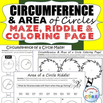 Have your students apply their understanding of CIRCUMFERENCE & AREA of CIRCLES with these fun activities including a maze, riddle and coloring activity. Topics Include: ✔ Radius and Diameter ✔ Circumference of a Circle ✔ Area of a Circle Perfect for math homework, math assessments or math stations.  7th grade math Common Core Geometry 7.G.4, 7.G.6