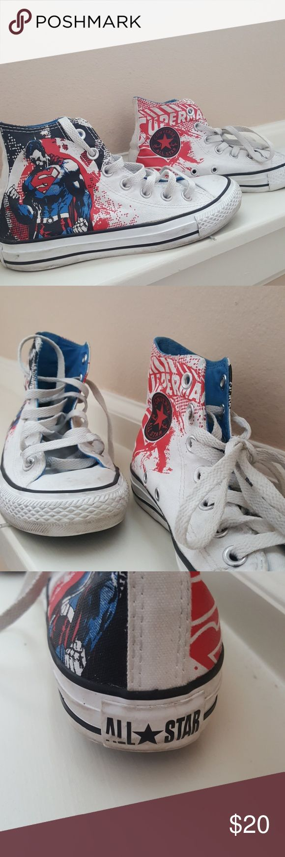 Rare Superman Comic Converse Superman Comic art drawn Converse in Women's size 6. These are hip and fun, wear them for a day out on the town with your fave pair of skinny jeans!  You'll love these, pre-loved but still tons of life left in these awesome shoes.  -LaPoshScott Converse Shoes Sneakers