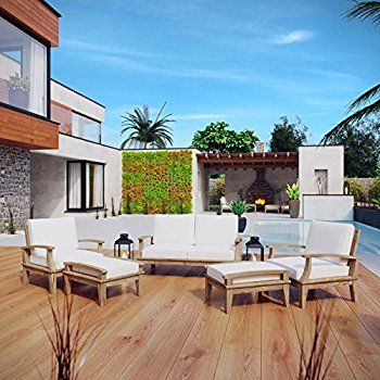 HIgh quality outdoor furniture for all your outdoor arrangements - Marina outdoor product.  https://www.barcelona-designs.com/products/marina-7-piece-outdoor-patio-teak-sofa-set-3?lshst=collection&utm_content=bufferb5fd9&utm_medium=social&utm_source=pinterest.com&utm_campaign=buffer #outdoor #patioFurniture #porch #Marina #homedecor