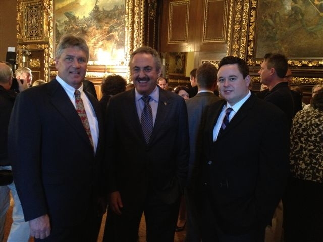 Glen Johnson, Business Manager of IUOE Local 49, with VIkings Owner Zygi Wilf and Local 49 Political Director Jason George