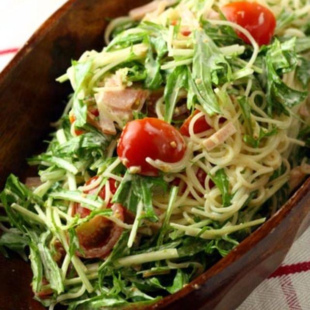 """3行レシピ♪「水菜とハムのパスタサラダ """"和風胡麻マヨ味""""」子供も大好きな味♪"""