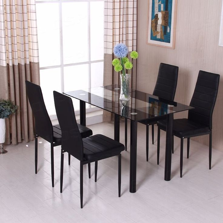 diningroom set black glass dining table chairs with metal legs foam padded seat - Dining Table Black Glass
