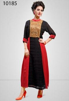 Fab Fuchsia And Black Embroidery Work Western Kurti