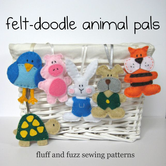 My easy to sew felt-doodle animal pals make perfect gifts.  The sewing patterns for the tortoise, bluebird, piglet, bunny, tiger and puppy are available from the fluff and fuzz on Folksy