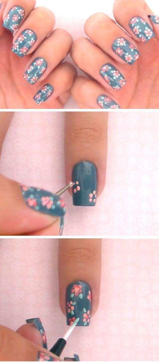 Fine Flowers Drawn On Bluish Base Nail Art #Nailart #Nailartdesigns #Flowernails