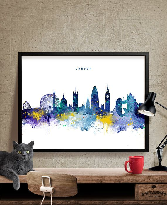 London Skyline Watercolor Art Print London Wall Art Print
