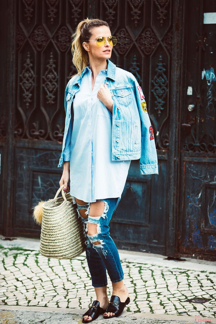 Cristina Ferreira | Daily Cristina | Fashion | Jeans | Elisabetta Franchi na Casiraghi | Camisa  Elizabetta Franchi na Casiraghi | Chinelos Gucci | Blusão de ganga Franklin Marshall na Casiraghi