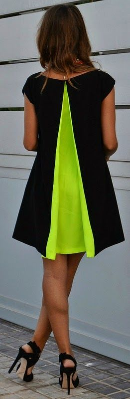 Little Black Dress with Neon Pleat Back and High Heels