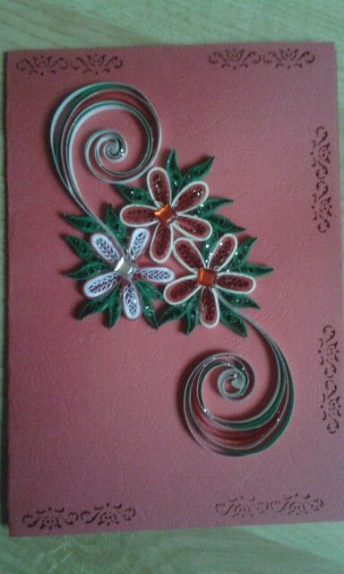 Card red by quilling catalina