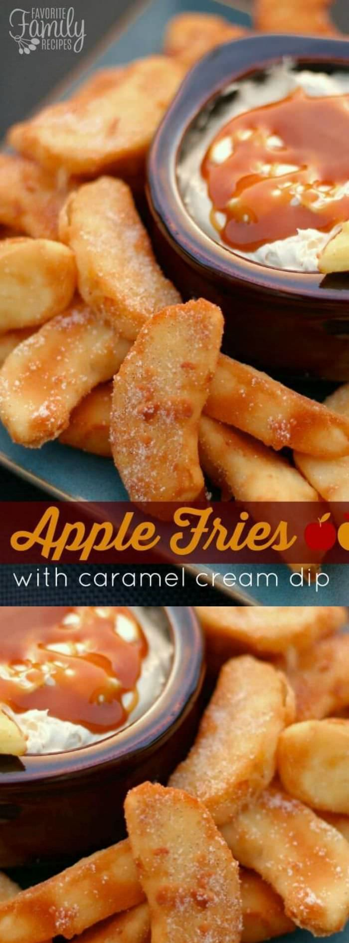 Lightly battered apple slices, fried and sprinkled with cinnamon and sugar-- this apple fries with caramel cream dip recipe is amazing!