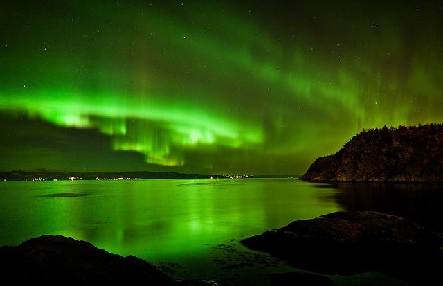 Northern Lights over Trondheim, Norway  by Severin Sadjina, via Flickr