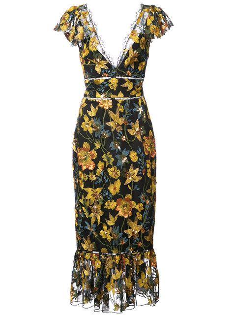 Shoppen Marchesa Notte floral fitted dress. | Kleider ...