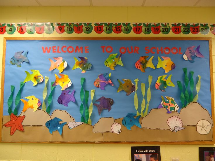 "Welcome to our ""school"" bulletin board that we use at the start of he year with the rainbow fish story."