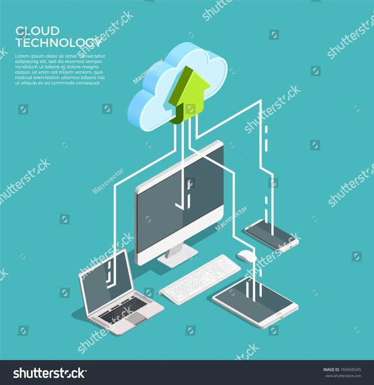 Cloud computing technology users network configuration isometric advertisement poster with pc monitor tablet phone laptop vector illustration #Sponsor…