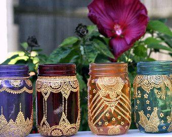 Conjunto de 6 tarro de masón marroquí Bohemia por HennaArtDiaries                                                                                                                                                                                 More