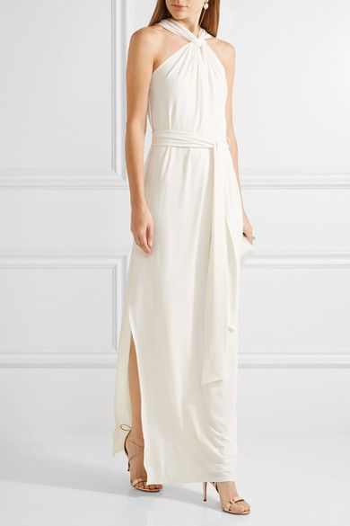 Off-white stretch-cady Button-fastening keyhole at back 94% polyester, 6% elastane; lining: 92% polyester, 8% elastane Dry clean Designer color: Chalk