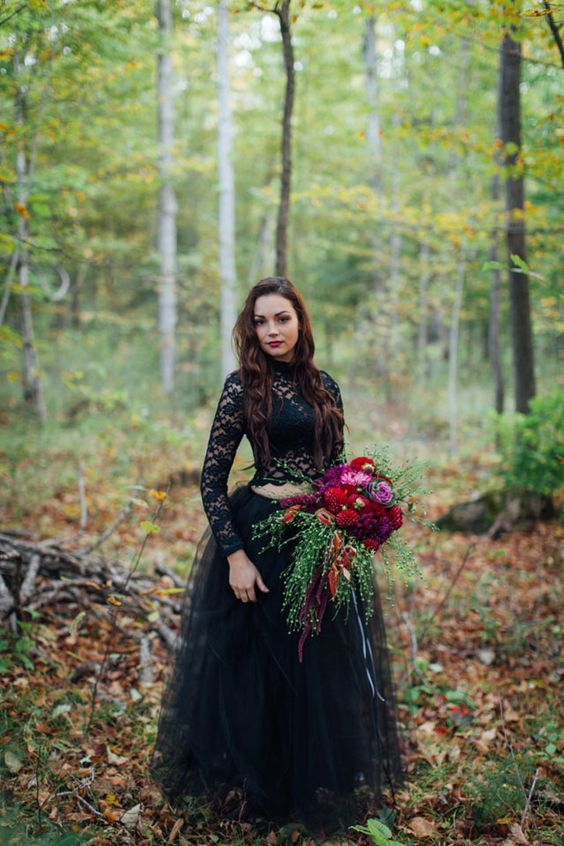 bohemian black two pieces lace wedding dress / http://www.himisspuff.com/black-wedding-dresses/4/