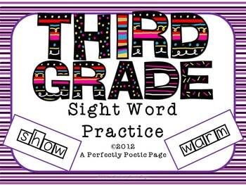 Dolch Third Grade Four Squares.  Print the word in manuscript.  Trace the word in cursive.  Stamp the word.  Unscramble the word.  Color the vowels red and the consonants blue.  In color and BW versions.  $
