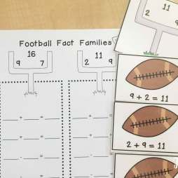 Football math centers: fact families