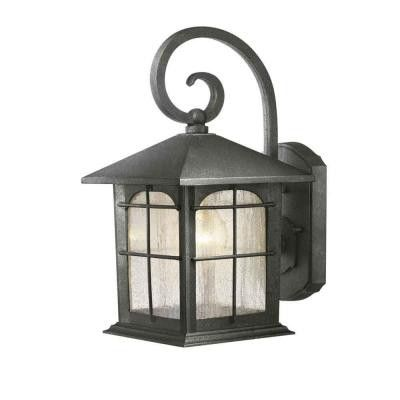 Home Decorators Collection, Brimfield, 1-Light, Aged Iron Outdoor Wall Lantern