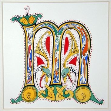 Copied from The Lindisfarne Gospels, Northumbrian coast, late 7th century.  Chinese stick ink, gouaches, watercolor paper.